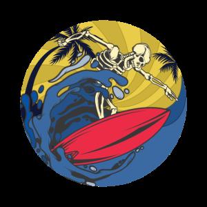 Retro Sonnenuntergang Skelett Surfer