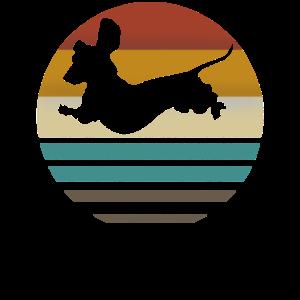 Retro Dackel Dackelhund Hund Silhouette Geschenk