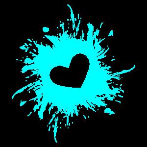 Herz Fleck Tinte Wasserblau
