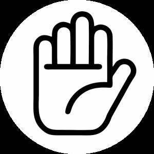 Hand / Stopp / Nein / Rückwärts