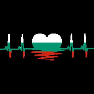 Bulgarien Flagge Herzschlag EKG Heartbeat Herz