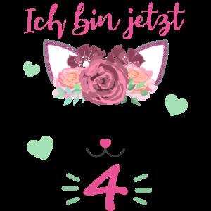 4 Jahre Alt Katze Geburtstag Geschenk Mädchen
