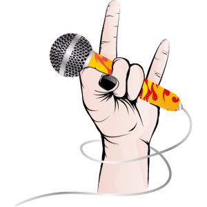 Hand eines Rock Sängers hält ein Gesangs Mikrofon