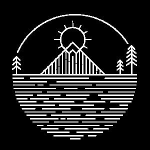 Line Art-Landschaft (weiß)