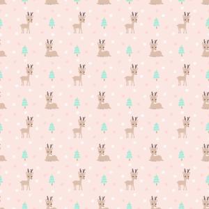 Pattern of reindeer on pink background.