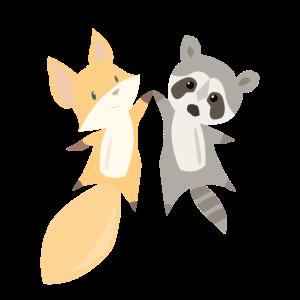 Waschbär Fuchs süße Tiere süß Tierliebe Geschenk