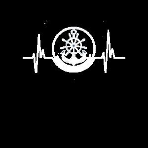EKG Puls Anker Steuerrad Seemann Nordsee