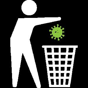 Virus kann weg - Mülleimer Papierkorb Symbol