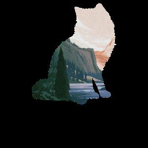 Schöne Illustration eines Waldes und Sees im Inner