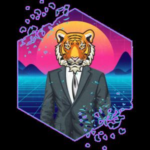 80's Exotic Tiger Wave Vintage Retro Design