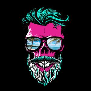 Cool Beard Skull color trendiger Bart-Schädel