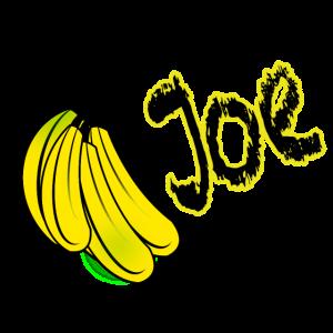 Name Joe mit Bananenstrunk