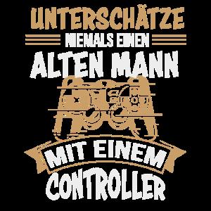 Gamer Zocker Opa Alter Mann