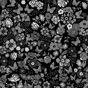 Schwarzweiss-Blumen und Schmetterlingsmaske