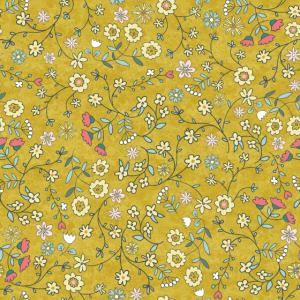 kleine Streublumen auf goldgelb