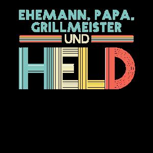 Ehemann Papa Grillmeister Held Design zum Vatertag