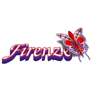 Firenze - testo con giglio e farfalla
