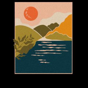 Schöne grafische Sonnenuntergangs-Illustration