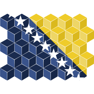 Bosnia-Herzegovina National Flag - cube 3D