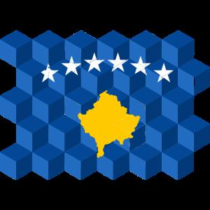 Kosovo National Flag - cube 3D