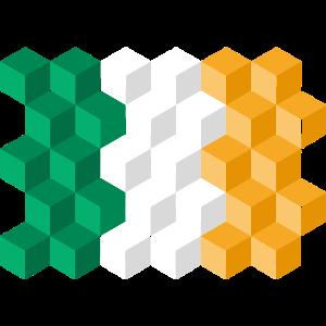 Ireland National Flag - cube 3D