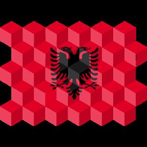 Albania National Flag - cubes 3D
