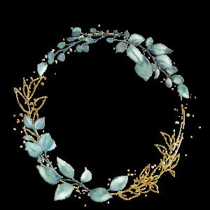 Floraler Kranz Grün Gold personalisierbar