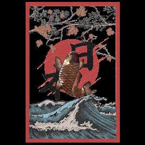 Koi-Fische fliegen über die Wellen im asiatischen Stil