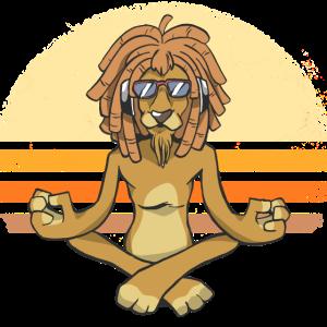 Cooler Löwe mit Dreadlocks macht Yoga.