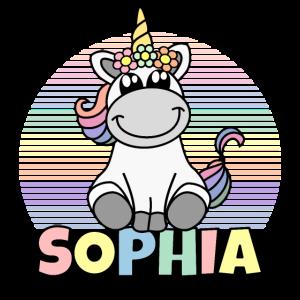 Sophia Name Niedliches Einhorn Regenbogen Vorname