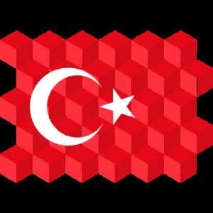 Turkey National Flag - cube 3D