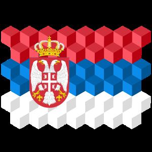 Serbia National Flag - cube 3D
