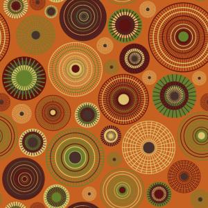 dunkelrote und hellgelbe Kreise auf orange