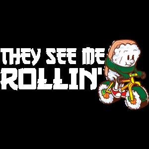 Fahrrad Sushi - Lustiger Spruch l Roher Fisch Bike