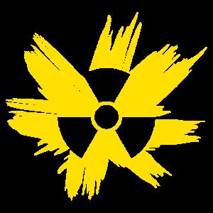 Illustration Grunge Radioaktiv Symbol gelb