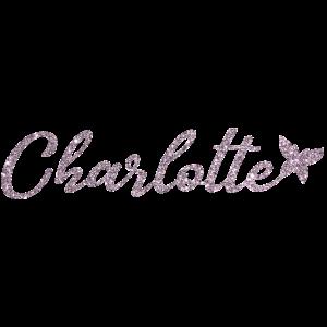 Charlotte Name Vorname mit Schmetterling Pink
