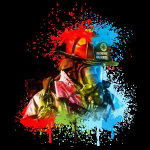 Feuerwehrmann mit Atemschutz Zeichnung