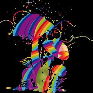 Bunte Fantasie Pilze aus fluoreszierende Farbe