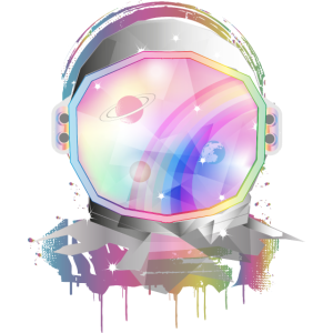 Astronautenhelm in Pastell Regenbogen Farben