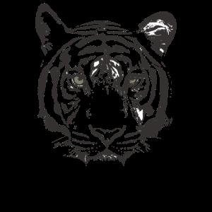 Tigerkopf schwarz weiß