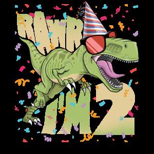 Kinder 2. Geburtstag, 2 Jahre alter Druck. T-Rex,