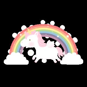 Nettes fliegendes Einhorn und Regenbogen