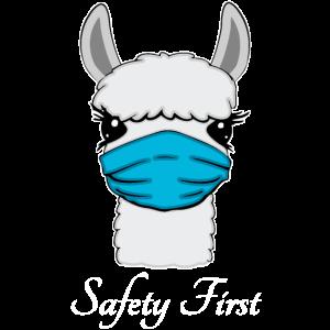 Lama mit Mundschutz gegen Corona Virus Gesundheit