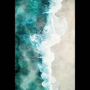 Wunderschöner Traum Strand in Aquarell gemalt