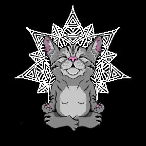 Katze im Schneidersitz süßes Yoga Geschenk