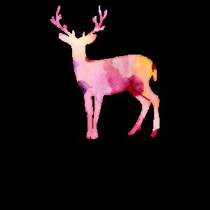 Hirsch mit Geweih aus dem Wald aus Wasserfarben