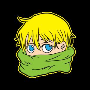 Netter Anime Junge mit Schale