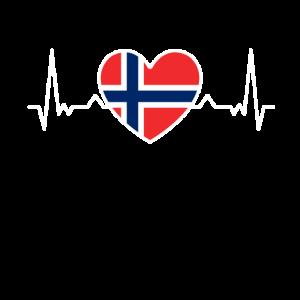 Norwegen Herzschlag Flagge Urlaub Reise