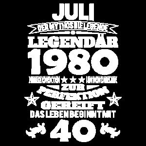 40. Geburtstag Juli 1980 Geschenk Geschenkidee