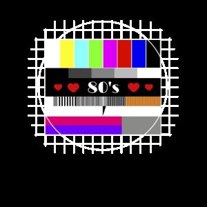 80er Jahre Testbild Herzen Liebe Retro TV 80's
